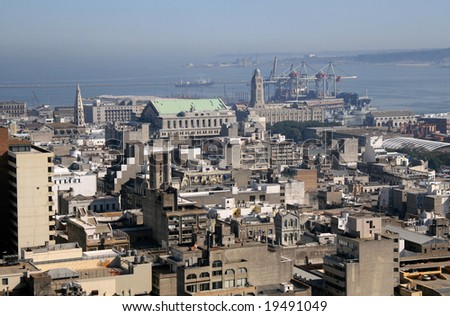 Panoramic view on the city and harbour of Montevideo, Uruguay