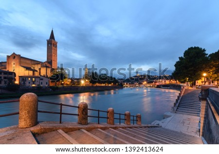 Panoramic view on the dige river in the evening in Verona. Italy