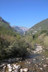 Panoramic view on the mountains near Peja in Kosovo.