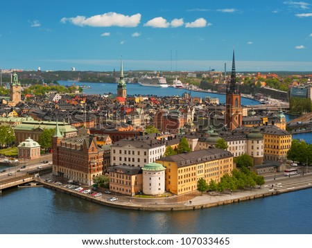 Panoramic view on the Old City of Stockholm, classical skyline;