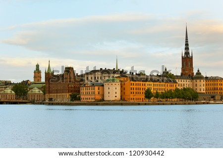 Panoramic view on the Old Town of Stockholm in early evening - stock photo