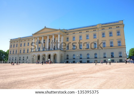 Panoramic view on the Royal Palace in Oslo, Norway - stock photo