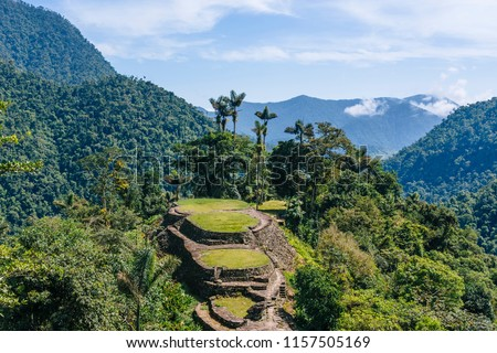 Panoramic view on the terraces of the Lost City (Ciudad Perdida) in the Sierra Nevada de Sante Marta- Santa Marta/ Magdalena/ Colombia Stockfoto ©