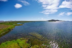Panoramic view on tne Thingvallavatn lake in Thingvellir National Park, largest natural lake in Iceland. Travel to Iceland.