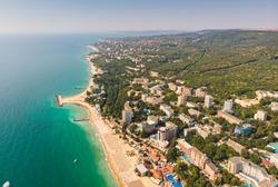 Panoramic view on Varna beach on Black sea in Bulgaria. 2019