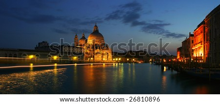 Panoramic view on venetian Grand canal at night.