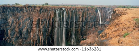 Panoramic view on Victora Falls in Zimbabwe in Africa