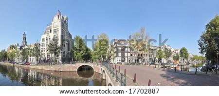 Panoramic view on Westerkerk in 'De Jordaan' Amsterdam Netherlands