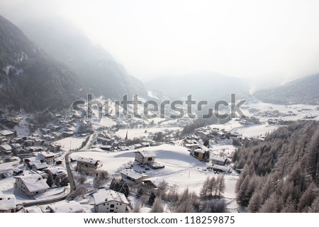Panoramic view on winter  Solden between mountains, Austria - stock photo