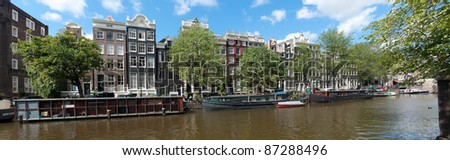panoramic view over an amsterdam canal