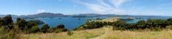 Panoramic view over Bay of Islands, New Zealand, NZ from Urupukapuka Island walking track