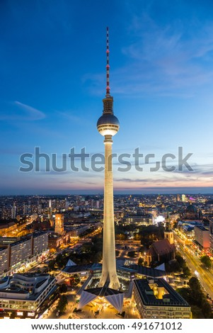 Panoramic view over Berlin at dusk from roof of the Hotel Park Inn Berlin.