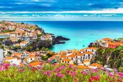 Panoramic view over Camara de Lobos, Madeira island, Portugal