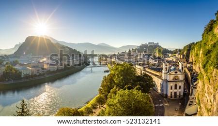 Panoramic view over city Salzburg at summer morning, Salzburg, Austria