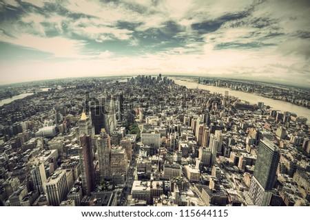 panoramic view over manhattan ...