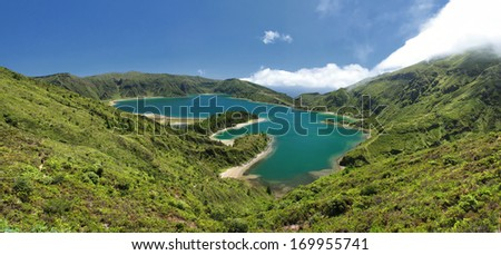 Panoramic View over the Lagoon of Fire (Lagoa do Fogo) at Sao Miguel (Azores islands)