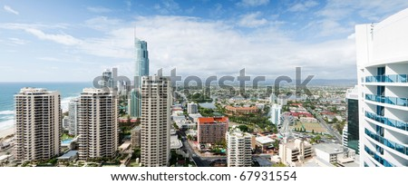 panoramic view over the modern city during the day
