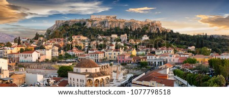 Panoramic view over the old town of Athens and the Parthenon Temple of the Acropolis during sunset #1077798518