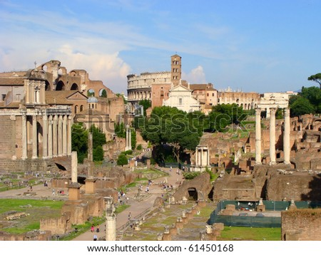 Panoramic view over the Roman Forum from Capitoline Hill, Rome, Italy