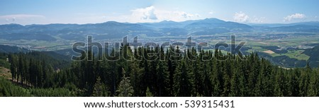 Stock Photo Panoramic view over the Styrian Murtal and the surrounding mountains. F1 and MotoGP race track in Spielberg seen from above.