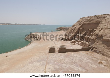 Panoramic view over the Temple of Ramses II at Abu Simbel with Lake Nasser - stock photo