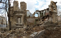 panoramic view Ruins of historic historic house of Masons. Ruined house. old historical ramshackle house was destroyed after violent storm, earthquake. Odessa,  ruins of historic residential building