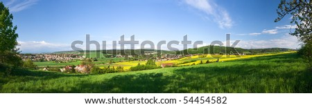 Panoramic view - spring landscape - from 6 vertical shots