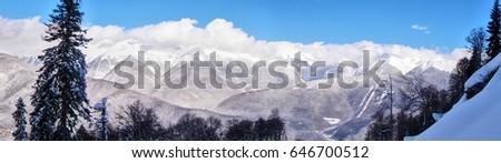 Panoramic view. The Caucasian mountain range. Krasnaya Polyana mountain resort. Sochi. Russia. #646700512