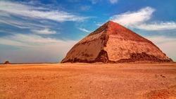 Panoramic view to Bent Pyramid of Sneferu Pharao at Dahsur, Cairo, Egypt