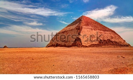 Panoramic view to Bent Pyramid of Sneferu Pharao at Dahsur, Cairo, Egypt