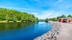 Panoramic view to Lagan riverbank near small town of Stromsnasbruk. Sweden, Scandinavia, Europe