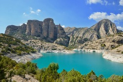panoramic view to Mallos de Lazas, Sierra y Canones de Guara (Sierra & Canyons of Guara), Embalse de Vadiello (Vadiello Dam), Vadiello, Aragon, Spain