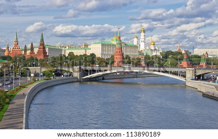 Panoramic view to Moscow Kremlin from bridge over Moscow river in Russia.