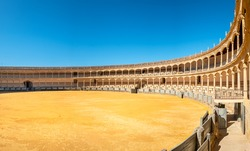 Panoramic view to Plaza de Toros de Ronda Bullring one of the oldest and most famous bullfighting arena in Spain. Ronda, Andalucia, Spain