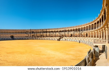 Panoramic view to Plaza de Toros de Ronda Bullring one of the oldest and most famous bullfighting arena in Spain. Ronda, Andalucia, Spain Foto stock ©