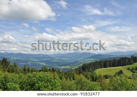 Panoramic view to the Alps in Austria
