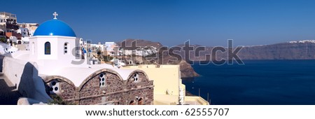 Panoramic view to the beautiful church and sea