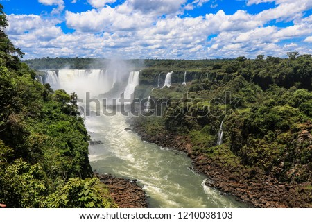 Panoramic View to the Iguazu Falls from  the Brazilian Side, South America