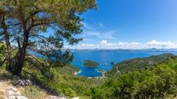panoramic view village Prozurska Luka on island Mljet ,Croatia,