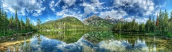 Panoramic view with reflection, Taggart lake, Grand Teton National Park