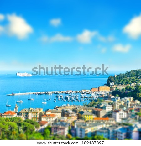 panoramic view  with tilt-shift effect. Santa Margherita, ligurian resort , italian riviera. beautiful mediterranean landscape with cloudy blue sky - stock photo