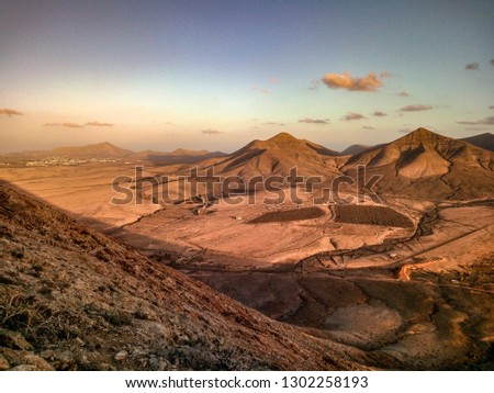 PANORAMIC VIEW WITH VULCANIC MOUNTAINS IN FUERTEVENTURA