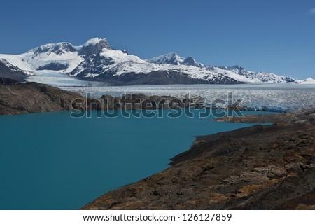 Panoramic viewpoint over Upsala Glacier and Lake Argentino, near Estancia Cristina in Patagonia