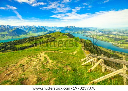 Panoramic views along hiking trail around Rigi-Kulm from Rigi-First the station of highest peak on Mount Rigi over 13 lakes and peaks of the Swiss Alps. Canton of Lucerne, Central Switzerland. Stock fotó ©