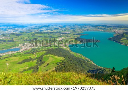 Panoramic views along hiking trail around Rigi Kulm, the highest peak on Mount Rigi over 13 lakes and peaks of the Swiss Alps. Canton of Lucerne, Central Switzerland. Stock fotó ©