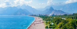 Panoramic views of Antalya and the Mediterranean coast and the beach and beautiful mountains in the clouds. Antalya, Turkey