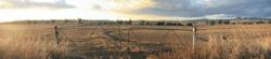 Panoramic views of dry, drought stricken farm land in Gunnedah, New South Wales, rural Australia