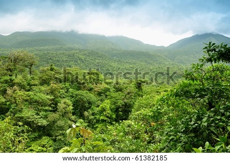 Panoramic views of jungle mountains in Costa Rica