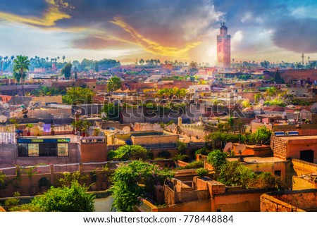 Panoramic views of marrakech medina, Morocco