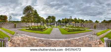 Panoramic views of the gardens at Portumna Castle in Ireland.